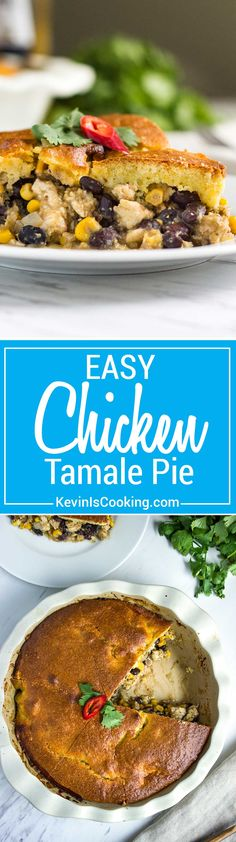 Easy Chicken Tamale Pie - made from ground chicken, spices, corn and beans all topped with a cornbread batter that's baked and ready in minutes. A house favorite!