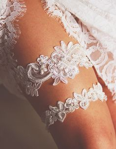 Applique Set - Lovely Wedding Garters to Keep or to Toss - Photos
