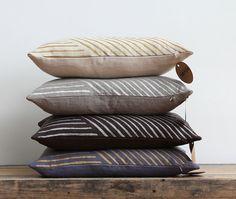Metallic silver & taupe handprinted organic linen pillow cover