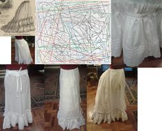 1873 short petticoat from white cotton lawn. Altered the original trained pattern to short, with only one tire of ruffle. Cotton eyelet lace (Madeira) trimmings.