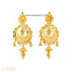 22 Karat Gold 'Chand Bali' Drop Earrings for Women Geode Jewelry, Jewelry Design Earrings, Gold Earrings Designs, Gold Drop Earrings, Sterling Silver Earrings Studs, Women's Earrings, Jewlery, Indian Gold Jewellery Design, Bridal Jewellery