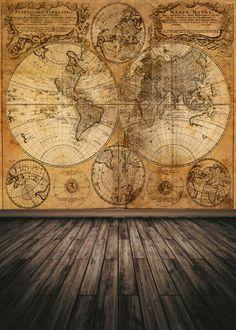 Vinyl Map Floor Photography Background Photo Studio Backdrop 5x7ft YG88 #new #mapwoodfloor