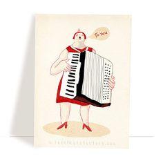 Set of 4 various music postcards - music greeting cards - music illustration - birthday postcard set - musicians - accordion - cello