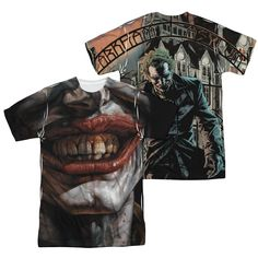 Batman Arkham Asylum Joker Mens Sublimation Tee Shirt - Love the teeth