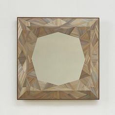 Gemstone Mirror in straw marquetry and bronze edge