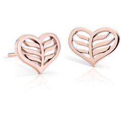 Blue Nile Leaf Heart Stud Earrings (3 390 ZAR) ❤ liked on Polyvore