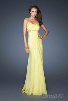 Capture all the eye balls with Chiffon by 18509 Embellished Yellow Dresses Formal Dress