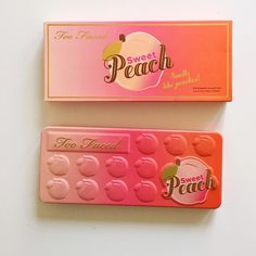 Too faced sweet peach pallette Sweet peach pallette sold out online and in most stores. I have two of these for sale. The pallette pictured is mine so yours will be brand new in the box. make me a reasonable offer! Tell me if you have a Ⓜ️ercari and I'll do a cheaper price on there (: Sephora Makeup Eyeshadow