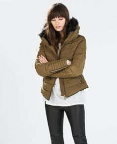 Zara Short Anorak with detachable fur collar and non-detachable inner hood