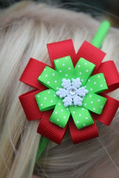 Red and Lime Green Christmas headband by marimaricollection, $8.00