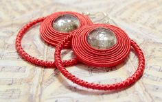 Nectarine Hand Embroidered Soutache Earrings  OOAK by Herinia, $35.00