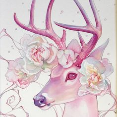 """""""Say I Am You"""" Original Painting — Tracy Lewis Art Studio Animal Paintings, Animal Drawings, Cute Drawings, Horse Drawings, Deer Drawing, Drawing Art, Watercolor Deer, Deer Illustration, Deer Art"""