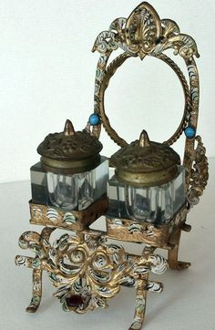 Antique Pocketwatch Holder and Inkwell