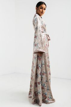 AKIRA Velvet Floral Embroidered Longline Wide Sleeve Duster in Taupe