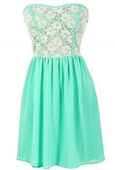Beige Lace Strapless Dress With Fabric Piping in Mint- may not be traditional, but it's the perfect graduation dress