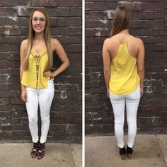 Cute, little yellow tank with aztec detailing - $38 #newarrival #summerfashion #ootd #summerarrivals #apricotlanedesmoines #shoplocal #shopalb #apricotlaneboutique #aldm