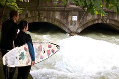 Munich River Surfing   http://cherylhoward.com/2013/07/14/weird-and-offbeat-sites-river-surfing-in-munich/  #munich #surfing #riversurfing #germany #europe
