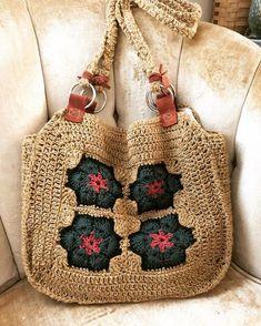 Cotton Crochet, Crochet Motif, Hand Crochet, Crochet Patterns, Granny Square Bag, Yarn Bag, Hippy Chic, Flower Bag, Crochet Handbags