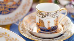 The Miramare Castle is a castle, built for Austrian Archduke Maximilian Habsburg and his wife. Painted with the harmony of rich gold and oriental blue. Maximilian I, Archduke, Coffee Set, Dinner Sets, Modern Luxury, Good Company, Fine China, Tea Set, Cup And Saucer