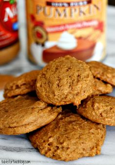 Pumpkin Peanut Butter Cookies - moist and fluffy! Made these tonight. I added about 1 1/2 cups of reese's pieces, amazing!! And the pumpkin taste is not overpowering at all.