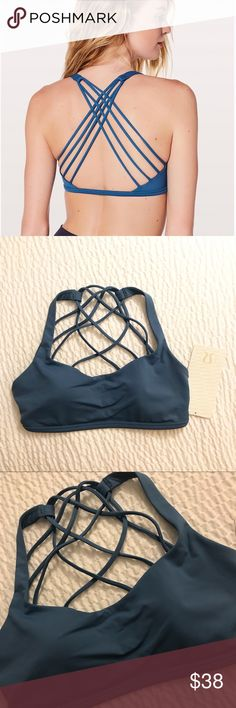 NWT Lululemon Free To Be Wild Bra This strappy, open-back bra is for small-busted yoga enthusiasts. Made with Full-On® Luxtreme fabric that offers great support and coverage with a cool, smooth feel. lululemon athletica Tops