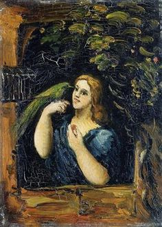 Woman with Parrot - Paul Cezanne