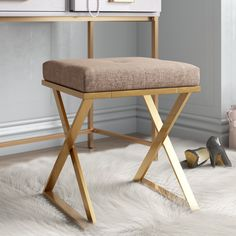 Dorable Upholstered Square Vanity Bench In Room Thanos X Base Vanity Stool - zommatto Vanity Seat, Vanity Stool, Rustic Vanity, Wood Vanity, Teal Accent Chair, Accent Chairs, Ceramic Garden Stools, Contemporary Vanity, Patio Chair Cushions