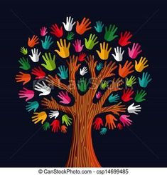 Vector - Multi social solidarity tree hands - stock illustration, royalty free illustrations, stock clip art icon, stock clipart icons, logo, line art, EPS picture, pictures, graphic, graphics, drawing, drawings, vector image, artwork, EPS vector art