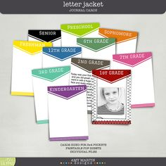 I LOVE these! Printable 3x4 Project Life Cards: Letter Jacket - perfect for school days by Amy Martin Designs #digiscrap