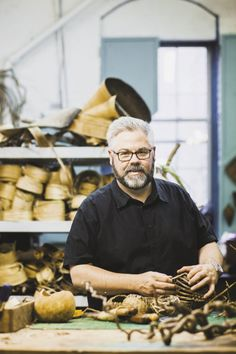 Contemporary Basket Artist Matt Tommey teaches basket weaving classes at his studio in the River Arts District in Asheville, North Carolina.