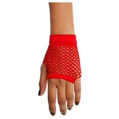 Red Fishnet Fingerless Gloves | Hot Topic ($4.40) ❤ liked on Polyvore