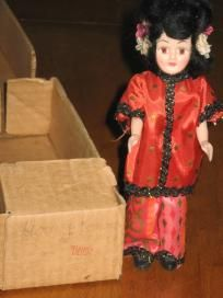 Blue Bonnet China Vintage Plastic Doll