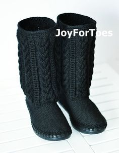Crochet Boots Crochet Knitted Shoes Outdoor Boots by JoyForToes, €89.00