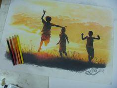 Color Pencil Sketch, Sunset Landscape, Art Education, Colored Pencils, Landscape Paintings, Favorite Color, Art Drawings, Childhood, Abstract