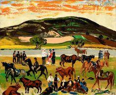 """Art from Spain - Benjamín Palencia (Albacete,1894 - Madrid, 1980) fue un pintor español, fundador de la """"Escuela de Vallecas"""". Deslumbrado inicialmente por un surrealismo, guardará en su retina ciertos aspectos del cubismo que resultarán claves en la esquematización de sus paisajes. A partir de los años cuarentas recupera gran parte de la poética del paisaje castellano, y desemboca en el llamado """"fauvismo ibérico"""". """"Feria de ganado"""""""