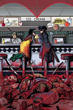 Hit Girl and Damian Wayne. Art by Cynthia Rodgers and Amanda Rodgers.