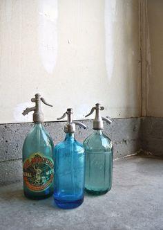 Beautiful Vintage Seltzer Bottles  Set Of 3  by ThEeRabbitHole
