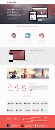 Squarefox - Unique Multipurpose Responsive Website by AVAThemes , via Behance