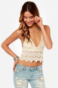 Somedays Lovin' Tambourine Cream Crochet Top at LuLus.com!