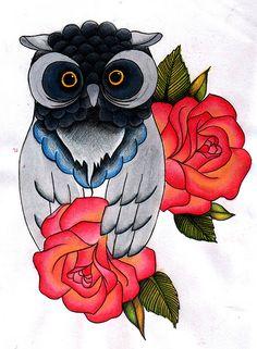 old school owl rose tattoo flash
