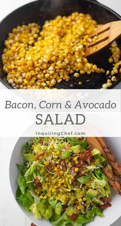 Combine three delicious things - crispy bacon, tender sweet corn, and savory avocado - and you have a fresh and totally addictive salad. Dinner Recipes Easy Quick, Easy Salad Recipes, Avocado Recipes, Easy Salads, Easy Chicken Recipes, Easy Healthy Recipes, Quick Easy Meals, Delicious Recipes, Avocado Salat