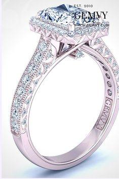Rose gold EMERALD HALO DIAMOND ENGAGEMENT RING 1439-V3RG Halo Diamond Engagement Ring, Vintage Engagement Rings, Beautiful Wedding Rings, Blue Dream, Stone Rings, Emerald, Jewelry Design, Gems, Rose Gold