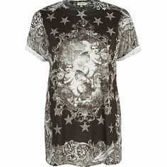 Black renaissance angel print t-shirt £18.00