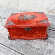 French antique jewelry box Red velvet glove box Art Nouveau French