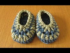 *Free Video Tutorial: VERY EASY Crochet Baby Boy Slippers - stripey baby shoes / booties - YouTube