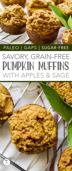 Perfect for breakfast or a snack, these paleo and GAPS-friendly Savory Pumpkin Muffins with Apple & Sage are a delicious treat! Free of gluten, grain, dairy, and sugar. Paleo Desert Recipes, Best Gluten Free Recipes, Real Food Recipes, Baking Recipes, Keto Recipes, Gluten Free Pumpkin, Pumpkin Recipes, Fall Recipes, Instant Pot