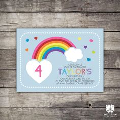 Rainbow Birthday Party Invitation by withlovegreetings on Etsy, $15.00