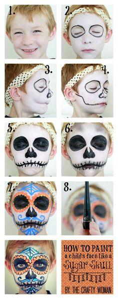 How to Paint a Face: Sugar Skull for Dia De Los Muertos - Halloween Halloween Kostüm, Holidays Halloween, Halloween Decorations, Halloween Costumes, Maquillage Halloween Sugar Skull, Helloween Party, Fantasias Halloween, Halloween Disfraces, Too Faced