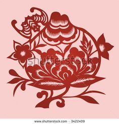 Chinese papercut bat | Floral element design in Chinese traditional Paper Cut style (Vector ...
