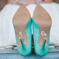 'i do' and 'me too' wedding shoe decals by the little handcrafted company | notonthehighstreet.com